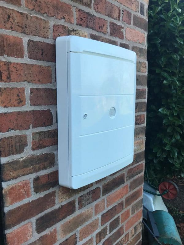 White overbox on brick